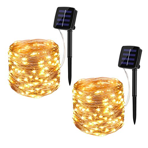 BINZET Solar Fairy Lights, 33Ft 100LEDs Waterproof Decorative Copper Wire Solar String Lights Outdoor for Party, Patio, Garden, Gate, Yard, Wedding, Christmas (Warm White,2 Pack)