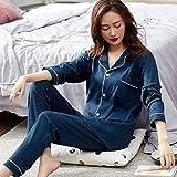 SDCVRE Bathrobe,Women 100% Cotton Pajamas Winter Green Sleepwear LadiesBedroom Home Clothes Pure Cotton Pyjamas,Dark Blue,L