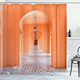 N \ A Orient Duschvorhang, marokkanischer Gehweg mit Motiven & Elementen, visuelles orientalisches Foto, Stoffstoff, Badezimmer-Dekor-Set mit Haken, 152,4 x 182,9 cm, Lachs