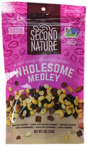 Second Nature Wholesome Medley Trail Mix - Nut Snack Blend, Gluten Free - 5 oz Resealable Standup Pouch (Pack of 12)