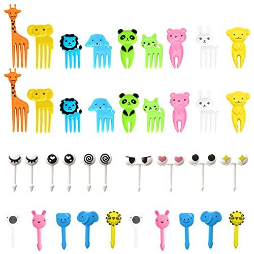 40 PCS Mini Animal Palillo de Dientes Forks, 22 Tipos Linda Niños Tenedor de Fruta, Plástico Bento Picks de Alta Calidad,...