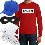Panzerknacker Banditen Kostüm Langarm-Shirt + MÜTZE + Maske + Handschuhe Langarm T-Shirt Large Rot