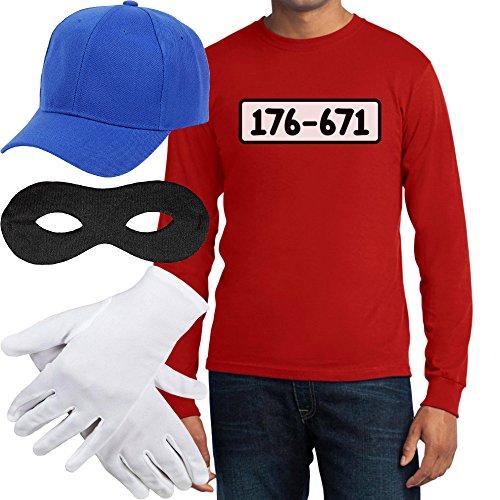Panzerknacker Banditen Kostüm Langarm-Shirt + MÜTZE + Maske + Handschuhe Langarm T-Shirt Medium Rot