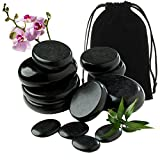 OUDI LINE Basalt Massage Rocks, 12pcs Hot Stone for Massages Premium Set, Warmer Stones for Professional or Home Spa, Relaxing, Healing, Pain Relief