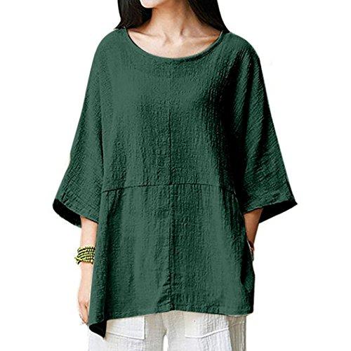 Hauts Rétro, YUYOUG Femmes T-Shirts Manche 3/4 Coton Lin Chemise Chic Simple Haut Tops Tunique (3XL, Green)