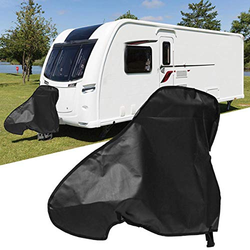 SOGNODDO Waterproof Caravan Hitch Cover Universal Trailers Cover Car Hook Connector Cover Heavy Duty Towing Hitch Fabric Case with Straps Rain Snow Dust Protector