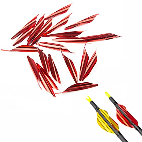 QunYing Pinals Archery 1.8 inch Arrows Spin Vanes Spiral Fletches Feather Fletching Right Wing DIY Arrow 50PCS(Red)