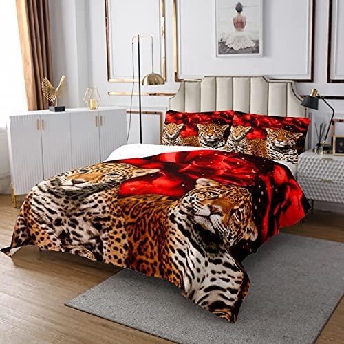 Homewish Leopard Steppgedeckte rote Blume Floral Coveret Set 240x260 Gepard Afrikanische Safari Animal Tagesdecke Für Kinder Teenager Erwachsene 3D Wildes Leben Quilt Set für Schlafzimmer Dekor