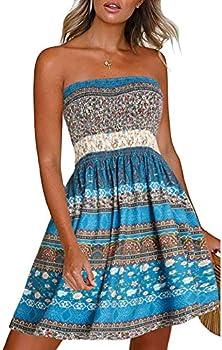 Women's Summer Dresses Beach Cover ups Casual Vocation Strapless Boho Floral Swing Sundress  Flower Blue,M