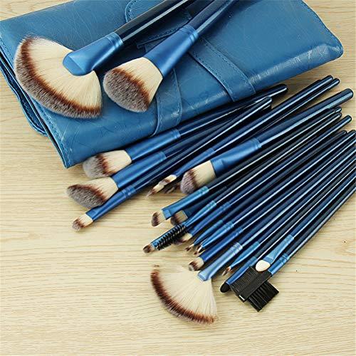 Beauté Maquillage Brosses 24pcs, Bleu Fondation multifonctionnelle Fard à Joues Ombre à paupières Outil Pinceau, Pinceau de Maquillage avec poignée en Bois