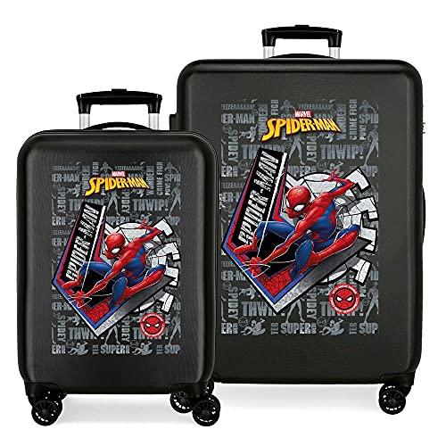 Marvel Spiderman Great Power Juego de Maletas Negro 55/68 cms Rígida ABS Cierre de combinación Lateral 104 6 kgs 4 Ruedas Dobles Equipaje de Mano