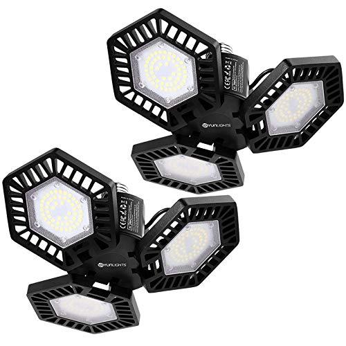 2 Pack LED Garagenleuchten - YUNLIGHTS 60W 6500LM Garagenbeleuchtung, 6500K Tageslicht dreiblättrige Garagendeckenleuchte mit 3 verstellbaren Paneelen E26 / E27 LED-Garagenbeleuchtung fürGaragenkeller