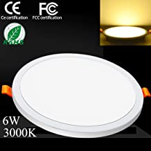 6W 3000k LED Round Ceiling Lights Recessed Panel Light LED Flush Mount Fitted Light Warm White Down Light Ultra Slim Lamp for Bathroom with LED Driver