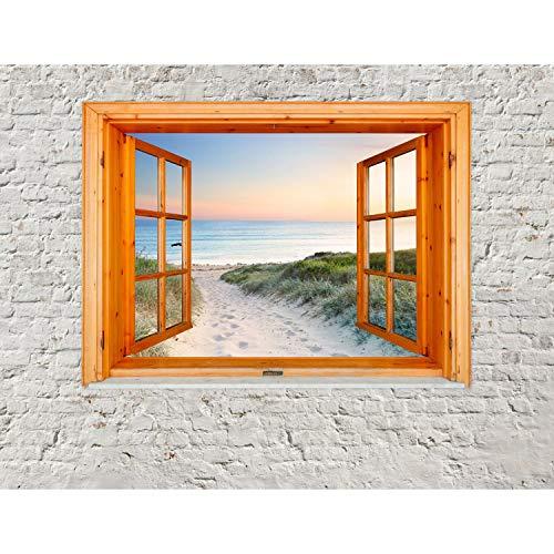 Runa Art Fototapete Fenster zum Strand Meer Modern Vlies Wohnzimmer Schlafzimmer Flur - made in Germany - Weiss Blau 9211010c