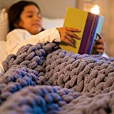 Chunky Knit Blanket Throw Chenille-Hand Knitted Soft Plush Yarn, Beautiful Home Decor for Bed, Sofa, Chair, Machine Washable Cozy Bedding by Royal Sparrow Designs