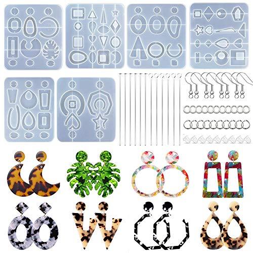 6 Pack Earring Epoxy Resin Molds, Bohemian Retro Drop Dangle Mirrored Style Resin Earring Molds for Women DIY Fashion Jewelry Resin Earrings