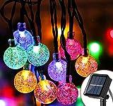 Guirnalda Luces Exterior Solares, 7M 50LED Cadena de Bola Cristal Luz, 8 Modos IP65 Impermeable Interior y Exterior Guirnalda Luminosas Solar para Jardín, Navidad, Terraza, Fiestas (Multicolor)