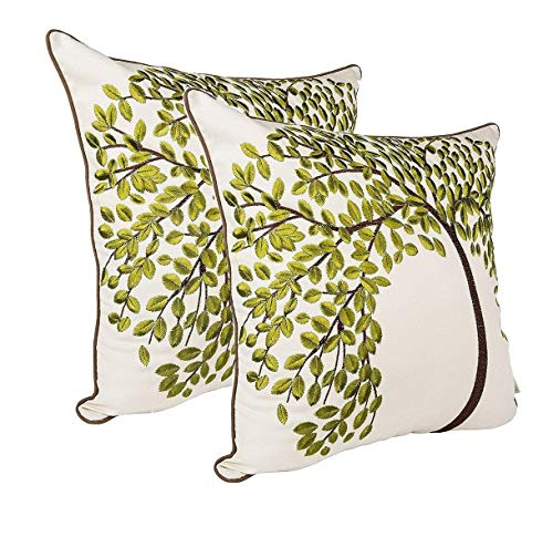 ZUODU Green Jacquard Cushion Cover 2PCS 45cmx45cm Embroidered Cotton Linen Decorative Green Pillow Cover Cushion Case Pillow Case - The Tree of Life(GREEN-2PC)