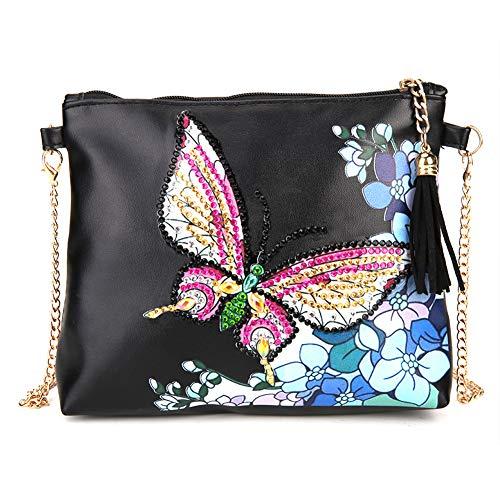 Bolsas de hombro con forma especial de mariposa para pintar con diamantes y cadena de cuero