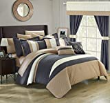 Chic Home Covington 24 Piece Comforter Set Embroidered Bed in a Bag with Sheets Curtains, Queen, Grey