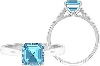 Anillo solitario de corte Asscher de 7 mm, anillo de moissanita D-VSSI, anillo de compromiso de oro blanco de 14 quilates