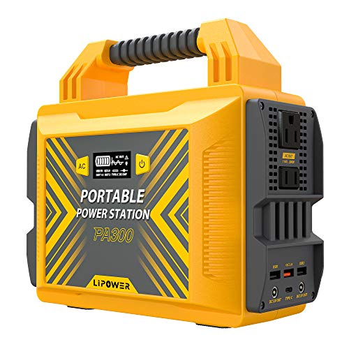 Portable Power Station 300W/110V, LIPOWER Pure Sine Wave Solar Power Generator, 296Wh/80000mAh Backup Power Supply, with 2 AC Outlet/2 DC/Type-C PD45W/QC3.0/2 USB Outputs