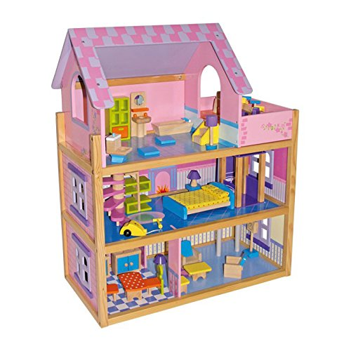 small foot 1535 Casa delle bambole Rosa, 3 piani con scala a chiocciola ed ascensore, incl. 23 mobili per bambola