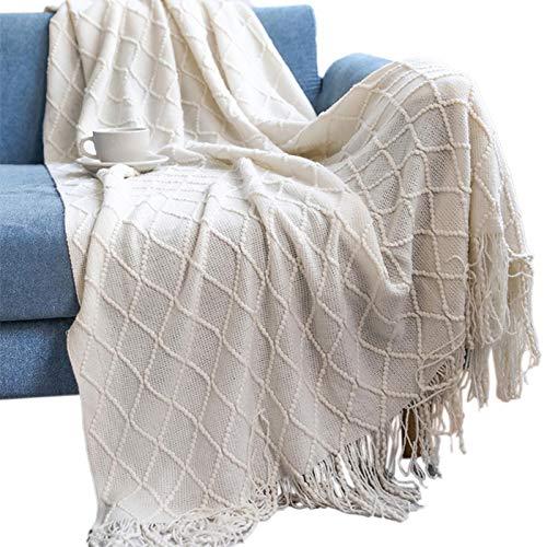 Superweiche Sofadecke, gestrickt, zweiseitig, Überwurf, Decke, Reise, Camping, Decke, für Couch, Sofa, Bett, Strickdecke, Sofadecke, 127 x 152 + 10 Must-Have, Beige