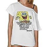 Camiseta para mujer con cuello de barco con cita de Bob Esponja 'Stasera Bevo Come Una Spugna' ('Esta noche bebo como una esponja') – Color blanco Bianco M