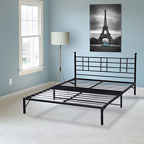 Best Price Mattress Model L Easy Set-up Steel Platform Bed with headboard, Twin XL/Box Spring Replacement/Sturdy & Durable Steel slats/Black Metal Bed Frame/Modern Design