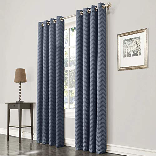 allen + roth Taventry Blue Polyester Room Darkening Single Curtain Panel 50 W x 84 L