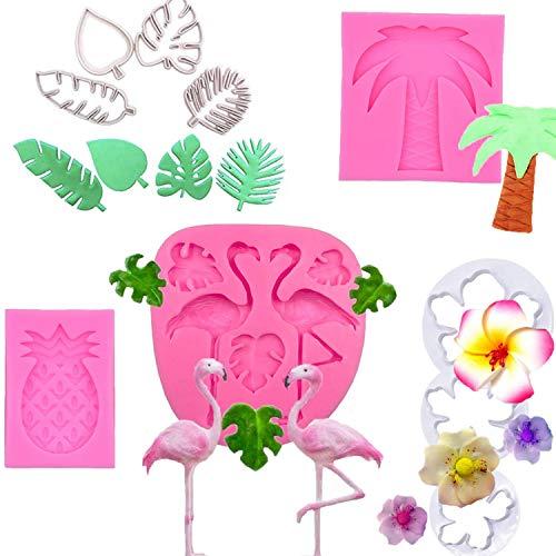 Hawaiian Tropical Rain Forest Theme Cake Fondant Mold - Flamingo Pineapple Palm Leaves Coconut Tree Tropical leaf Flowers Candy Chocolate Mold