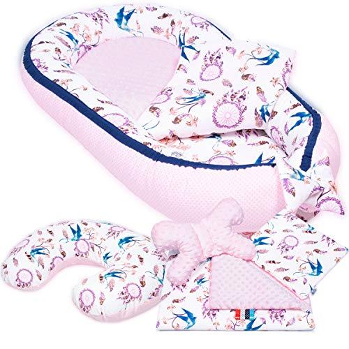 PALULLI - Set de 6 piezas para bebé (nido de 95 x 55 cm, cojín de lactancia, colchón para bebés, manta, cojín plano, cojín cervical, suave como el acurrucar) rosa Schwalben