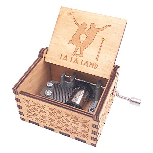 Lalaland Music Box - Caja de música de mano, diseño de manivela de madera, color marrón
