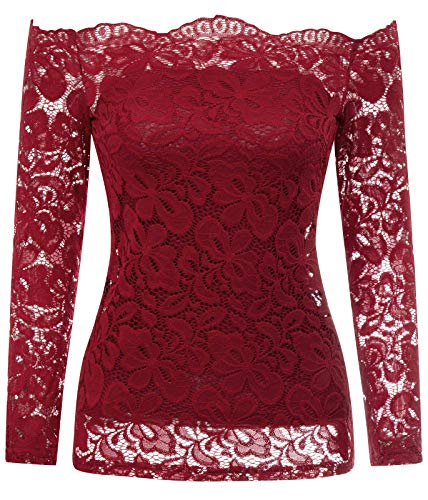 Kate Kasin Women Casual Slim Fit Shirts for Women Long Sleeve Wine Red L