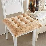 HUAHOO bequemes Sitzkissen, weich, warm, Stuhlkissen, 40 x 40 cm, Lammwolle, flauschig, für Erwachsene und Kinder, für Küche, Esszimmer, Wohnzimmer, Bürostuhl, Lammwolle, Camel, 2er-Set