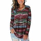 ZFQQ Camiseta de Manga Larga con Cuello en V y Estampado Multicolor Casual para Mujer de otoño e Invierno