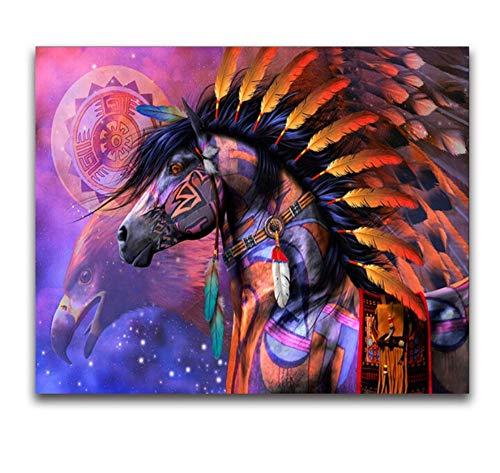 Cuadros En Punto De Cruz,Amazon Horse 3D Diamond Mosaico Color Pluma Redonda Diamante Pintura Punto De Cruz Águila Ronda Diamante Bordado Pájaro Decoración Del Hogar 30x40cm