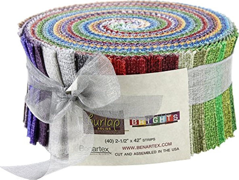 Burlap Solids Brights Pinwheel 40 2.5-inch Strips Jelly Roll Benartex