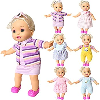 BOBO clothes Set of 6 For 12-14-16 Inch Alive Lovely Baby Doll Clothes Dress Outfits Costumes Dolly Pretty Doll Cloth Handmade Girl Christmas Birthday Gift  16