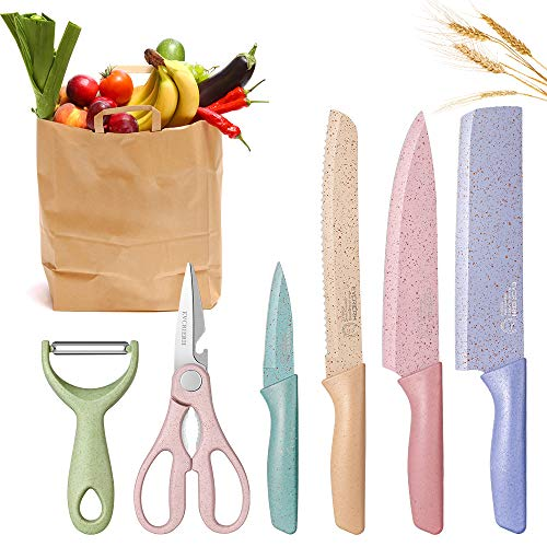 DCYSO Kitchen Knife Set of 6 Pieces in Gift Box,...