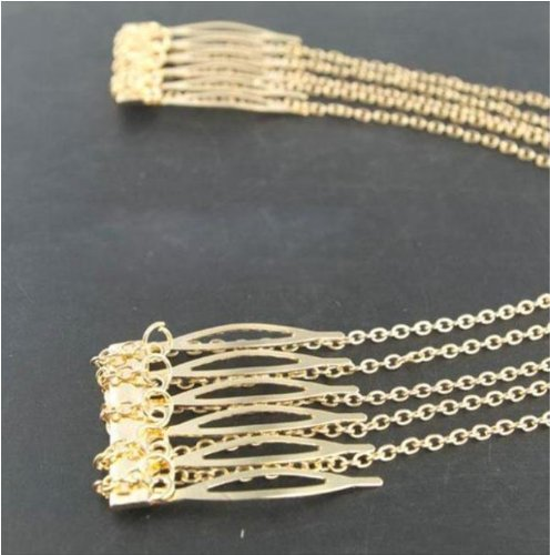 Gold Hair Pin Combs with Chain Cuff Jewellery Bridal Decoration Bride Head Band by Kiara H&B