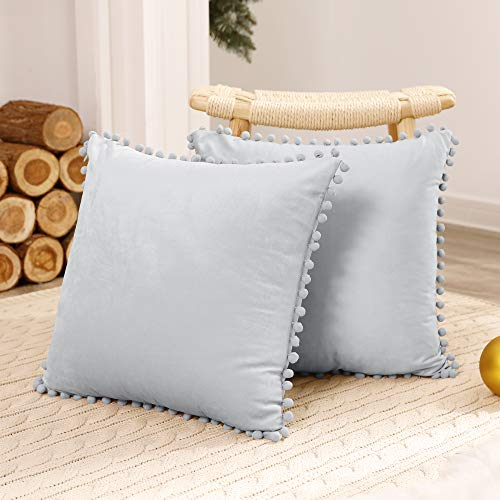 Deconovo 2 Pack Decorative Pom Pom Crushed Velvet Cushion Covers 18x18 Inches Throw Pillowcases for Sofa Chairs Bed Kids with Invisible Zipper 45 x 45 cm Light Grey