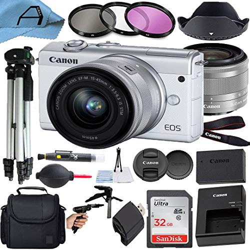 Canon EOS M200 Mirrorless Digital Vlogging Camera with EF-M 15-45mm is STM Zoom Lens, SanDisk 32GB Memory Card, Case, Tripod, 3 Pack Filters and A-Cell Accessory Bundle (White)