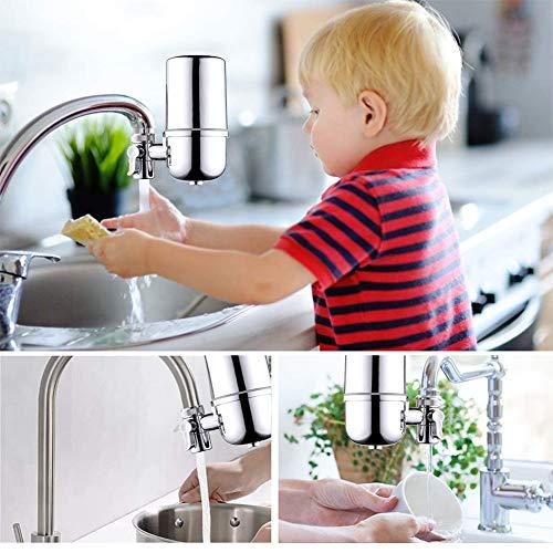 Küchenarmatur Wasserfilter Parkarma Trinkhahn Extender Wasserfilter Edelstahl Ultra Filter Wasserhahn Geeignet für Standard Wasserhahn für Küche Badezimmer (Silber)