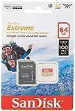 SANDISK - 64 Go Carte microSD Extreme avec Adaptateur SD | Idéal pour les Caméras d'Action & Drones | Design Durable | Incl. Logiciel de Récupération Facile Des Fichiers - RescuePRO Deluxe