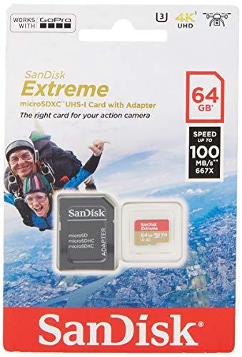 SANDISK - Scheda Di Memoria Extreme microSDHC 64 GB I Archiviazione File Multimediali I Adattatore SD Incluso i Velocità Lettura 90/60 MB/s - Nero