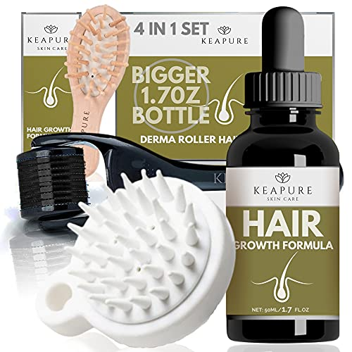 Derma Roller Hair Growth - 1.7oz Natural Hair Growth Serum Oil + Two Hair Scalp Massagers + Microneedle Dermaroller Hair Growth   Advanced Scalp Stimulator Hair Regrowth for Men and Woman