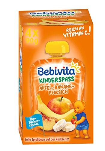 Bebivita Kinder-Spaß, Apfel-Banane-Pfirsich, 4er Pack ( 4 x 4 x 90 g )