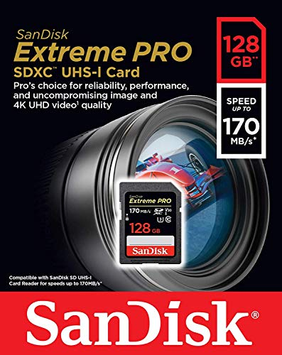 SanDisk 128GB SDXC Extreme Pro Memory Card Works with Sony Alpha a7 III Mirrorless Camera 4K V30 UHS-I (SDSDXXY-128G-GN4IN) Plus (1) Everything But Stromboli (TM) Combo Reader